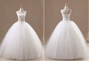 Ivory Strapless Floor-Length Wedding Dresses w by weodress