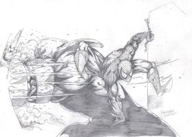 Spiderman vs Juggernaut by lorkalt