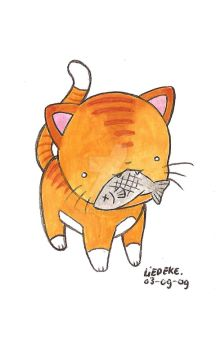 cat and fish by Liedeke
