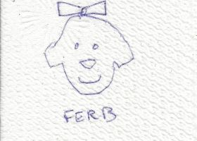 Fern drawn on some napkin but misspelled FERB by dth1971