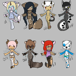 Batch of cheap adoptables. under 5$. by Torm3nteDxPanda