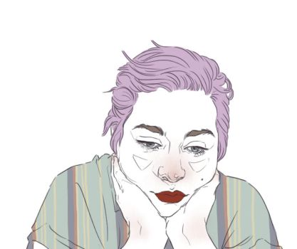 Purple Rotoscope Animated Self Portrait by Carliihde