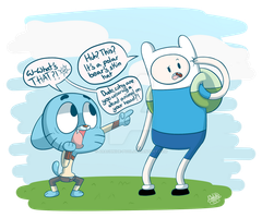 Gumball meets Finn the human by Arachnide-pool