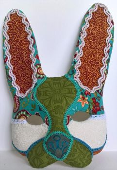 Patchwork Rabbit Mask by LucyinDisguiseMasks