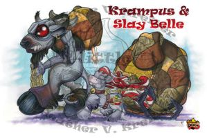 Krampus and Slay Belle by ShamanSoulStudios