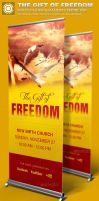 Gift of Freedom Church Banner Signage Template by loswl