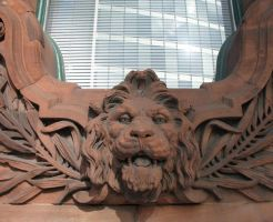 Carved Lion's head by Spinneyhead