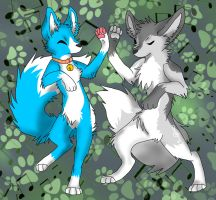 Art Trade: Suzu and Kaleo by Firewolf-Anime