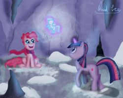 Pinkie and Twilight having fun in cave. by QuadICE