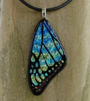 Blue Yellow Mix Glass Wing by FusedElegance