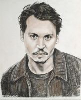 Johnny Depp 1998 sepia by shaman-art