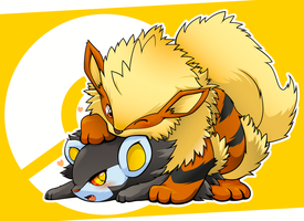 Arcanine and Luxray by Apricolor