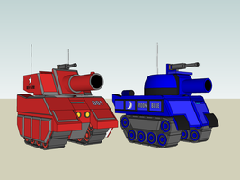 Red Star and Blue Moon Tanks by AceRacer