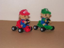 Baby Mario and Baby Luigi 'Mario Kart' by fuzzyfigureguy