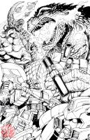 Godzilla vs Transformers WIP by KaijuSamurai