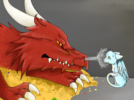 Icemist and Smaug by wingedkin