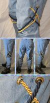 Steampunk Boot-Cut Blue'n'Brass Corded Jeans by Windthin