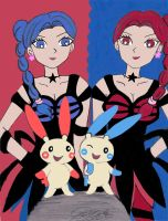 Plusle, Minun and witches by RakikoHime