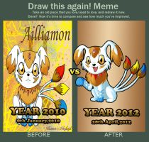 Before and After Meme of Ailliamon by pokediged