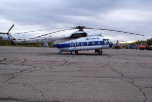 Old russian helicopter by lomapatta-stock