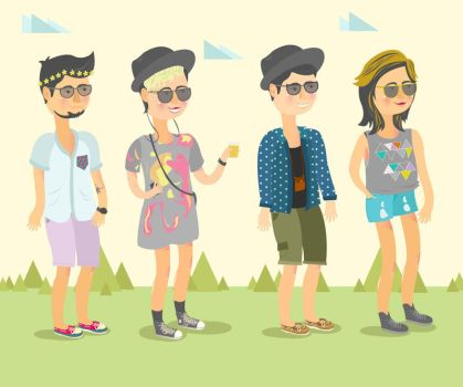Hipster Boys And Girls by ieather