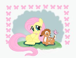 Fluttershy, Bambi and butterfly by antoyuju