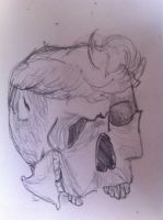 Mangled skull with a pompadour by RedShroomChibi
