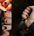 Nail Art: Orange Bat by ginkgografix