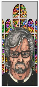 Priest and Stained Glass by SEKOTSstudios