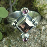 Pink n Brown Art Nouveau Ring by metalsmitten