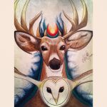 Deer and Owl by crescentindigomoon