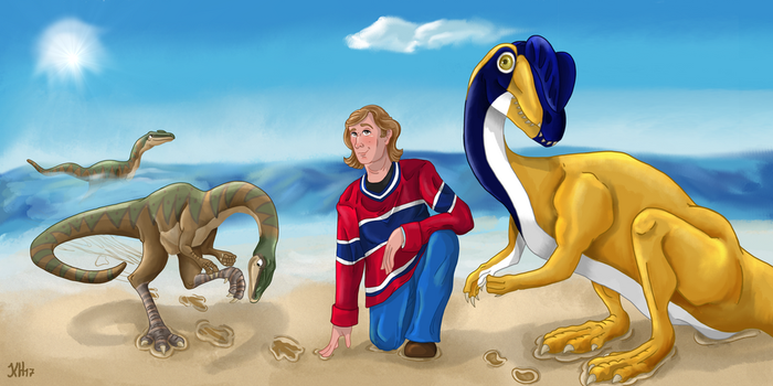 Andrew R. C. Milner and his dinosaur tracks by Pelycosaur24