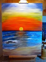Sunset acrylic painting by dx