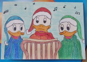 Huey, Dewey and Louie are Christmas Caroling by MoonyMina