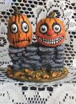 Jack-O-Lanterns on a Stone Wall. by Long-Legged-Beastie