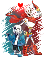 UNDERTALE - Skelebros by Chocolatewoosh