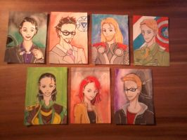 the Avengers and Loki by Nyancatextreme