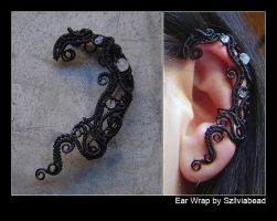 Ear wrap_black and moonstones by bodaszilvia