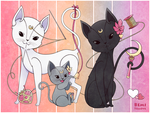 Sewing Moon Cats by BemiTellove