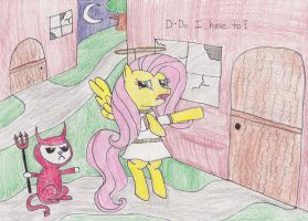 Fluttershy's Nightmare Night by DarkKnightWolf2011