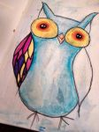 Sharpie n Watercolor Owl by diva42