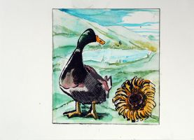 Watercolor Illustration of a Duck and flower by XavierDiemert