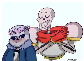 Papyrus and Sans by CheeseWaifu