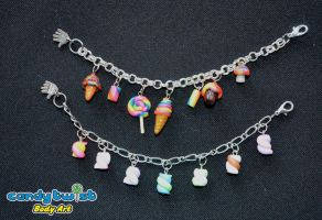 Polymer Clay Candies Charm Bracelets by Dabstar