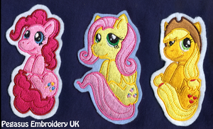 Peeping Pocket Pony Patches - Pinkie, Flutters, AJ by GothyBeans