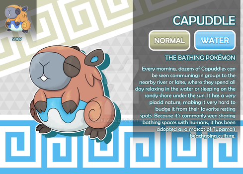 Capuddle, the Bathing Fakemon by AtmaFlare
