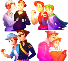 [speedpaint] Youtubers: Pokemon trainers by ChloesImagination