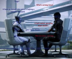 Liara and Shepard Contemplating on the Citadel by masseylass