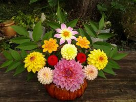 Dahlias in a Basket by Awesomalicious