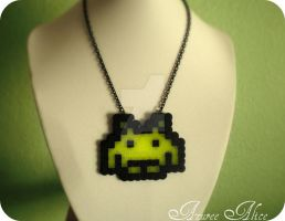 Space Invader Necklace by AzureeAlice